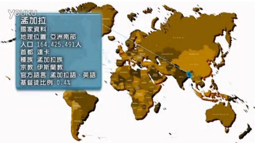 孟加拉;地理位置:亞洲南部;人口:164425491人;首都:達卡;種族:孟加拉族;宗教:伊斯蘭教;語言:孟加拉語、英語;基督徒比例:0.4%