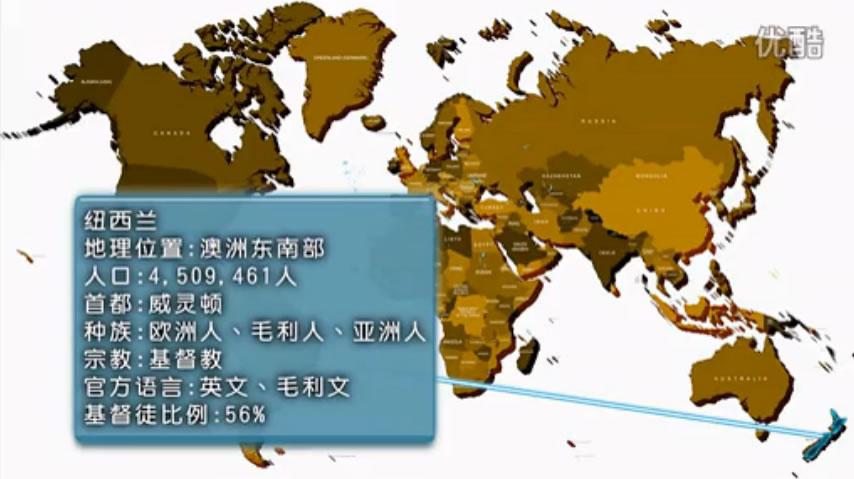 紐西蘭;地理位置:澳洲東南部;人口:4509461人;首都:威靈頓;種族:歐洲人、毛利人、亞洲人;宗教:基督教;語言:英文、毛利人;基督徒比例:56%