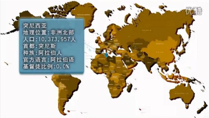 突尼西亞;地理位置:非洲北部;人口:10373957人;首都:突尼斯;種族:阿拉伯人;語言:阿拉伯語;基督徒比例:0.0%